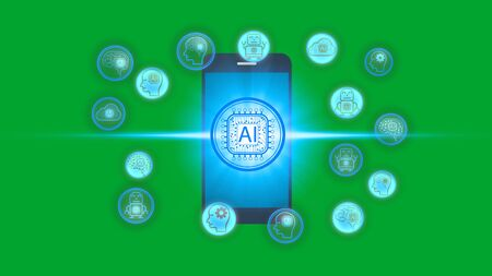 Smartphone with Artificial Intelligence (AI) technology icon over the Network connection, Artificial Intelligence Technology Concept Standard-Bild