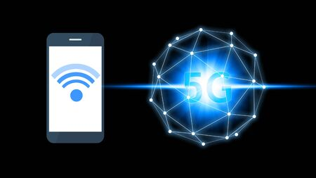 Smartphone connection 5G icon technology, Smartphone using 5G technology with virtual screen icon, Technology Internet 5G global network concept. Standard-Bild
