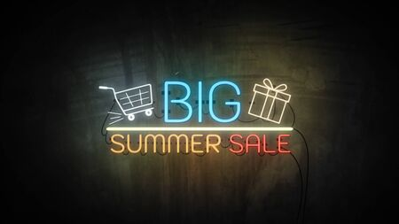 BIG SUMMER SALE neon light on wall. Sale banner blinking neon sign style for promo video. concept of sale and clearance