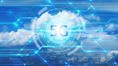 5G technology with virtual screen icon, Technology Internet 5G global network concept. Standard-Bild
