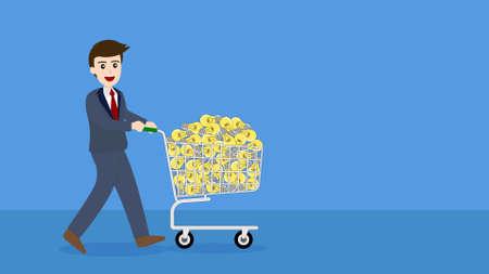 Businessman buy ideas with shopping cart. Standard-Bild