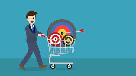 businessman with target and an arrow in a shopping cart. Standard-Bild