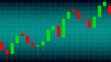 Candlestick red and green chart showing trade on uptrend market.