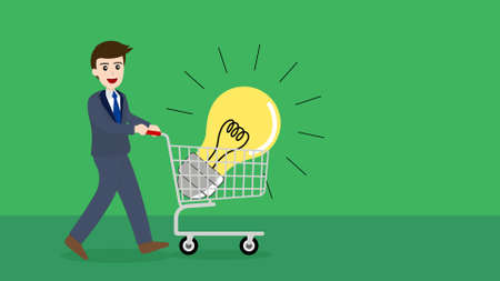 Businessman buy ideas with shopping cart. Illustration