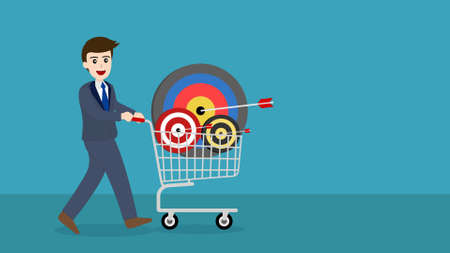 businessman with target and an arrow in a shopping cart. Illustration