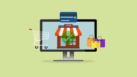 Shopping online app, shopping on Website, ecommerce, Digital marketing concept.