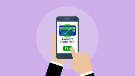 online banking app, Mobile payment, payment completed. Illustration