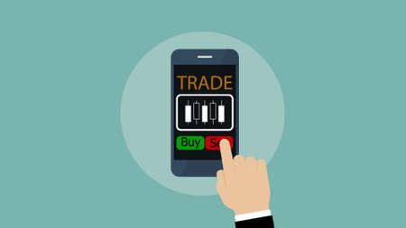 mobile exchange trading app, forex exchange on smartphone, Investment concept. Illustration