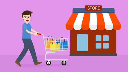 a man buy product with shopping cart