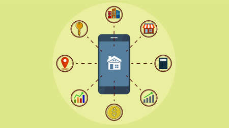 Searching property on mobile, Real estate investing and Real estate concept. Illustration