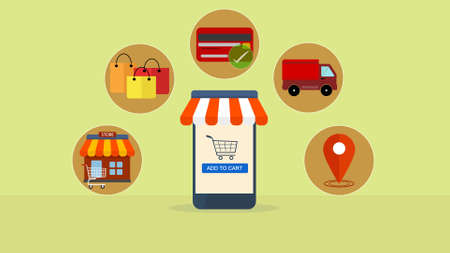 Online shopping on smartphone app, e-commerce Shopping, buying online process