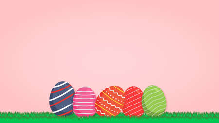 Easter background with eggs Illustration