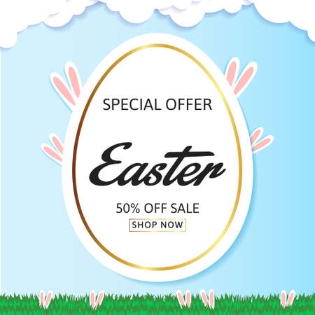 Easter sale banner background template with eggs
