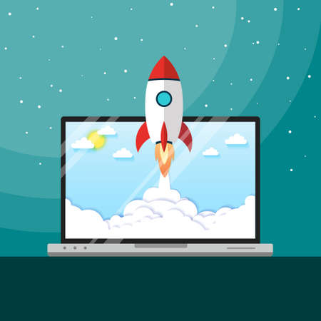 Vector illustration concept rocket launch. can be used for landing pages, templates, UI, web, mobile applications, posters, banners, leaflets