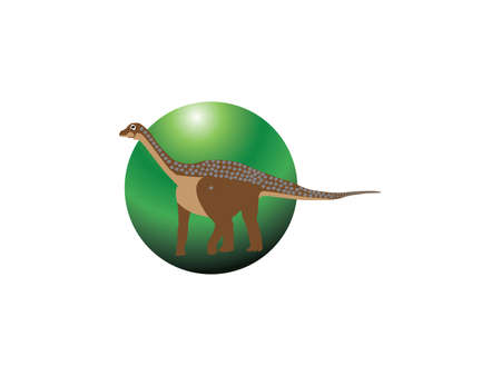 Vector illustration of Cartoon Dinosaur Character on circle background