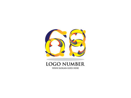Number sixty eight logo. Color overlay style. Vector typeface for labels, headlines, posters, cards etc
