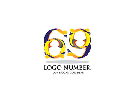 Number sixty nine logo. Color overlay style. Vector typeface for labels, headlines, posters, cards etc 일러스트