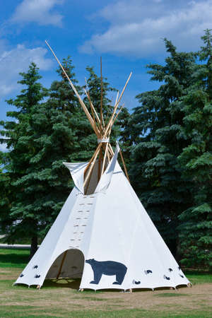 plains indian: Wigwam on the background of green trees