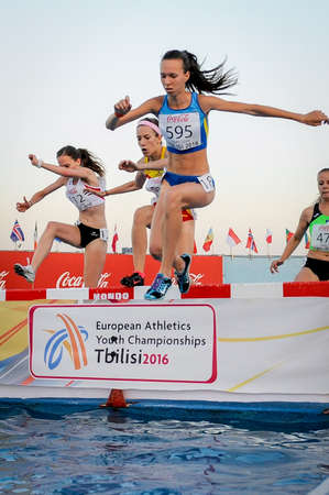 steeplechase: VYZHYHAN Iryna during 2000 m run steeplechase girls competition at the European Athletics Youth Championships in the Athletics Stadium, Tbilisi, Georgia, 15 July 2016