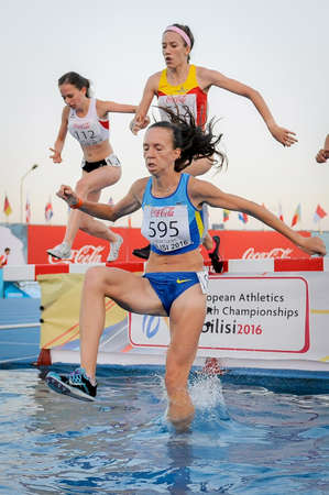 VYZHYHAN Iryna during 2000 m run steeplechase girls competition at the European Athletics Youth Championships in the Athletics Stadium, Tbilisi, Georgia, 15 July 2016