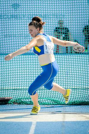 HARKUSHA Darya uit Oekraïne tijdens het discuswerpen concurrentie op de Europese Atletiek Jeugd Kampioenschappen in het atletiekstadion, Tbilisi, Georgië, 14 juli 2016