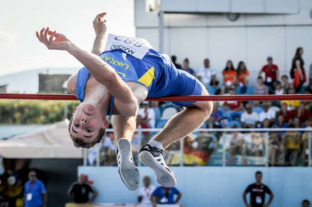 MOKRYAK Anton from Ukraine during high jump boys competition at the European Athletics Youth Championships  in the Athletics Stadium, Tbilisi, Georgia, 14 July 2016