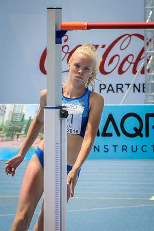MATVIYOK Anastasiya from Ukraine during high jump girls competition at the European Athletics Youth Championships  in the Athletics Stadium, Tbilisi, Georgia, 14 July 2016