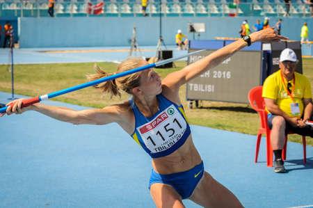 lanzamiento de jabalina: SHUKH Alina de Ucrania durante la competición de lanzamiento de jabalina en el Campeonato de Europa de atletismo de jóvenes en el estadio de atletismo, Tbilisi, Georgia, 16 de Julio el año 2016