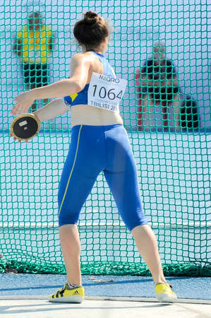 discus: HARKUSHA Darya from Ukraine during  discus throw competition at the European Athletics Youth Championships  in the Athletics Stadium, Tbilisi, Georgia, 14 July 2016