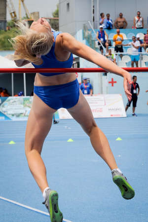world championships: POLTAVETS Oleksandra from Ukraine during high jump girls competition at the European Athletics Youth Championships  in the Athletics Stadium, Tbilisi, Georgia, 14 July 2016 Editorial