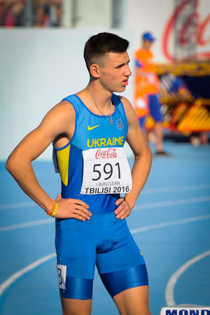 racetrack: SAVENKO Oleksandr during 100m run competition at the European Athletics Youth Championships  in the Athletics Stadium, Tbilisi, Georgia, 14 July 2016 Editorial