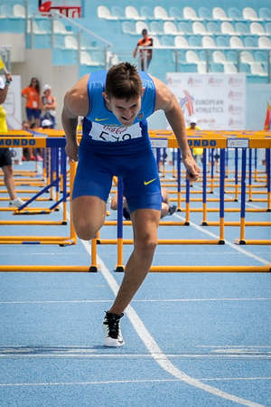 OVCHARENKO Oleksiy  from Ukraine during Run the hurdles competition at the European Athletics Youth Championships  in the Athletics Stadium, Tbilisi, Georgia, 14 July 2016