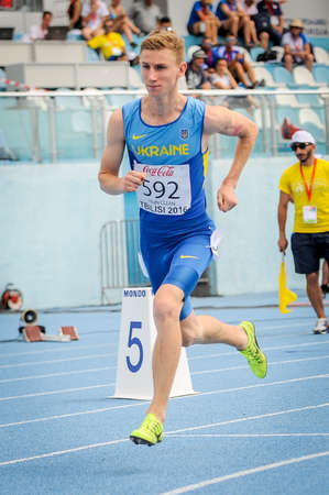 SIRYY Mykola from Ukraine during 800 m run competition at the European Athletics Youth Championships  in the Athletics Stadium, Tbilisi, Georgia, 14 July 2016