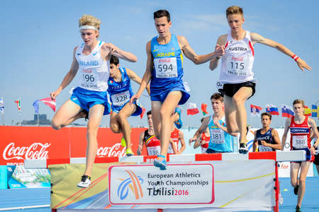 steeplechase: VYZHYHAN Bohdan during run steeplechase boys competition at the European Athletics Youth Championships in the Athletics Stadium, Tbilisi, Georgia, 15 July 2016