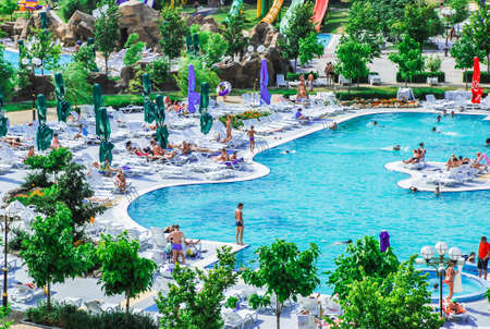 Aerial view at the biggest aquapark in Ukraine
