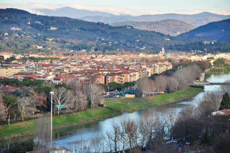 Aerial view at Ponte Vecchio in Florence, Italian region of Tuscany, Italy