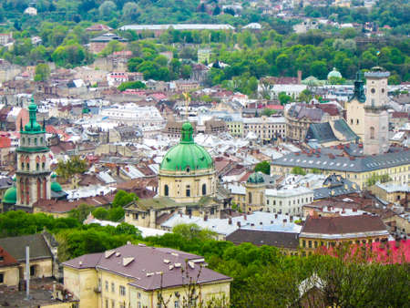 Aerial view at the Lviv city centre in Ukraine.