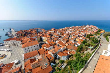 Aerial panorama view at central part of Piran town in southwestern Slovenia Stock Photo