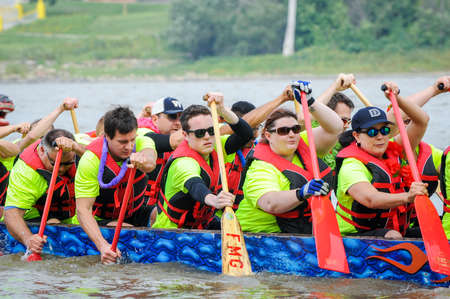 deportes nauticos: September 12, 2015 – Red river in Winnipeg, MB, Canada – Team building activity during rowing dragon boat race