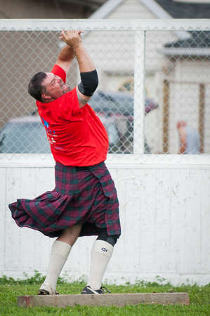 bagpipe: August 15, 2015 – Winnipeg, MB, Canada -  Manitoba association of Celtic sports organized Scottish heavy games during Folklorama festival Editorial