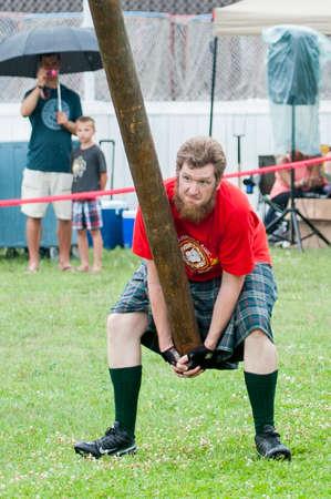 August 15, 2015 – Winnipeg, MB, Canada -  Manitoba association of Celtic sports organized Scottish heavy games during Folklorama festival Editorial