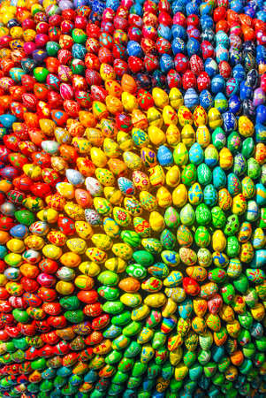 Season background frame of colorful Easter Eggs