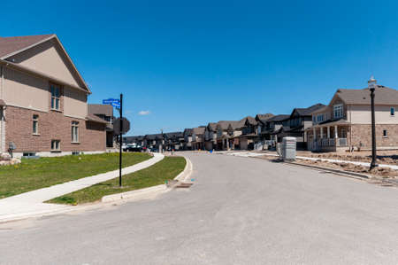View At New Houses In A New District Of The Kitchener City, Ontario,..  Stock Photo, Picture And Royalty Free Image. Image 80780693.