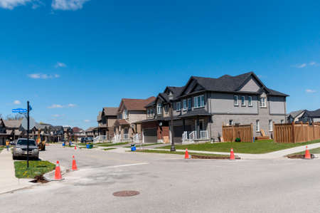 front house: View at new houses in a new district of the Kitchener city, Ontario, Canada