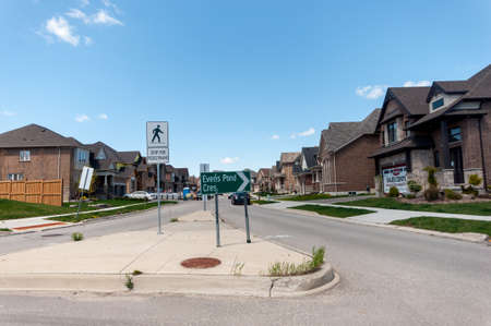 View At New Houses In A New District Of The Kitchener City, Ontario,..  Stock Photo, Picture And Royalty Free Image. Image 80780696.