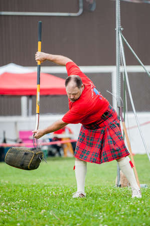August 15, 2015 – Winnipeg, MB, Canada -  Manitoba association of Celtic sports organized Scottish heavy games during Folklorama festival Editorial