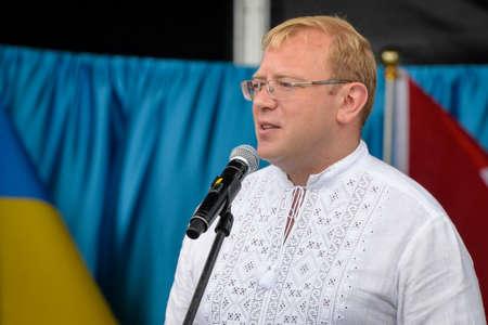 diaspora: August 19, 2017. Toronto, Canada – Andriy Shevchenko Ambassador, Embassy of Ukraine in Canada duirng the  Largest Ukrainian diaspora celebration of 26 Ukrainian Independence Day at Centennial Park in Toronto, ON, Canada