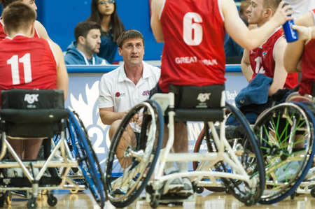 wallace: June 10, 2017 - Toronto, Ontario, Canada – Head Coach Scott Wallace during the basketball game - Germany vs Great Britain during 2017 Men's U23 World Wheelchair Basketball Championship which takes place at Ryersons Mattamy Athletic Centre, Toronto, O