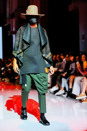 October 3, 2017. Toronto, Canada –  fashion models represents different designers clothes from Ceneca - Red collection for men and women during runway presentation at Toronto Women's Fashion Week on October 3, 2017 in Toronto, Canada