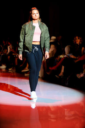 October 3,2017.Toronto, Canada Fashion models represents different clothes from Reebok and Joga companies during runway presentation at Toronto Women Fashion Week on October 3, 2017 in Toronto, Canada